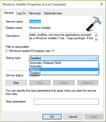 Unregister and re-register the Windows Installer